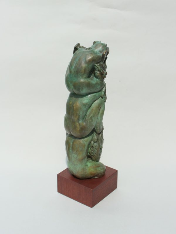 "Jacqueline Lorieo, Upon Their Shoulders, Bronze, 13""x4""x4"", $2,000"