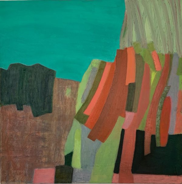 "Donna Scarpa, On The Edge, Oil on linen, 16""x16"", $850"