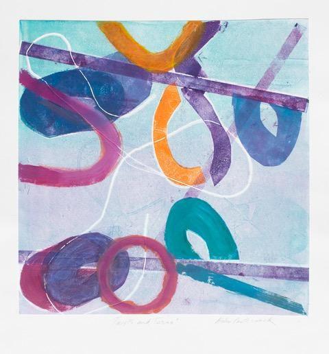 """Helen Pasternack, Dancers, Monotype, 12""""x12"""", $300"""
