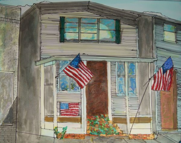 "Don Sexton, Canaan Flags, Inks/Oil/Pastels, 18"" X 23"",$980"