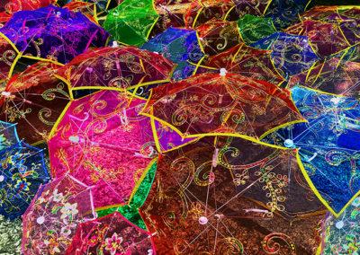 "Mark Swartz, Umbrellas of Yangshuo, Photography on Canvas, 23""x30"", $350"