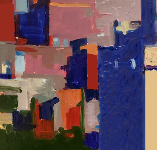 "Marion Schneider, Silent City, Acrylic on Board, 12""x12"", $1,800"