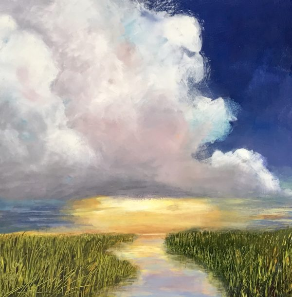"Denise Petit Caplan, The Sun will Come Out, Acrylic on board, 18""x18"", $400"