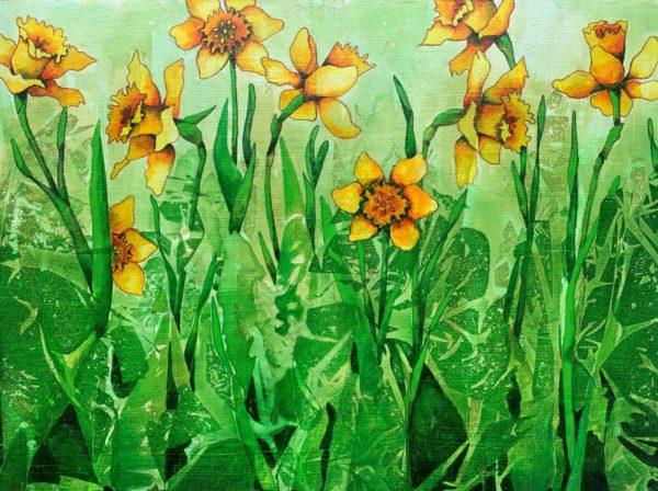 """Lisette Overweel, Daffodils, Acrylics, 12""""x16"""", $300"""