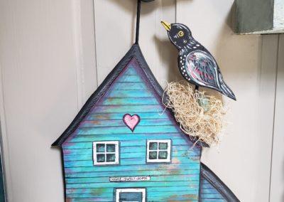 "Laura Heiss, Home Sweet Home, Acrylic on wood, 12"" x 18"", $85"