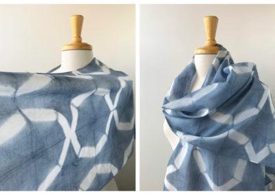 "Elena Rosenberg, Hand-Dyed Scarf, Textile Art / Silk & Cotton, 16"" x 76"", $75"