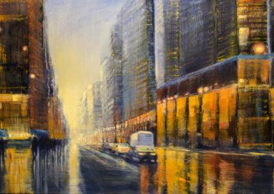 "Jane Black, Heading Downtown, Oil on Linen, 24""x36"", $960"