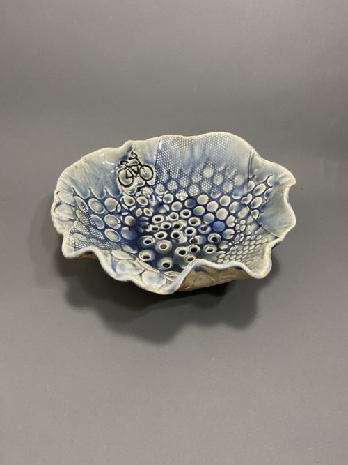 "Robin Henschel, Bicycle berry bowl & saucer, Stoneware clay, 9"" x 9"" x 3"", $54"