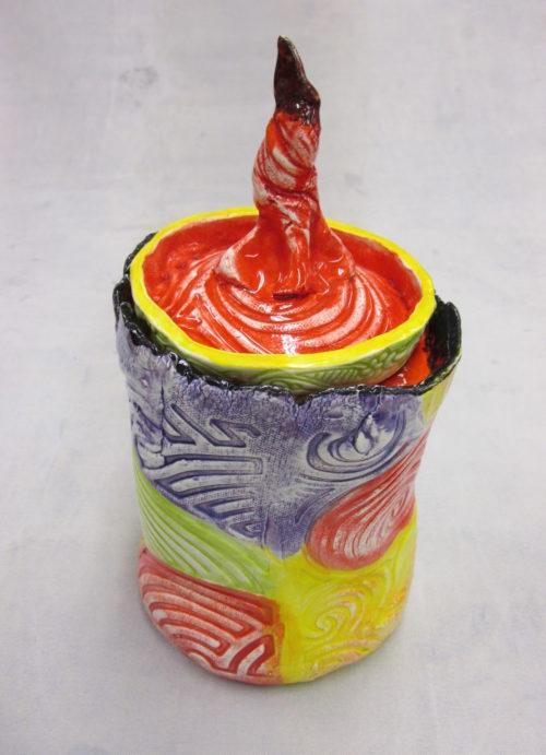 """Joel Trieger, Cookie Jar, Ceramic, 10"""" x 5"""" x 5"""", $65"""
